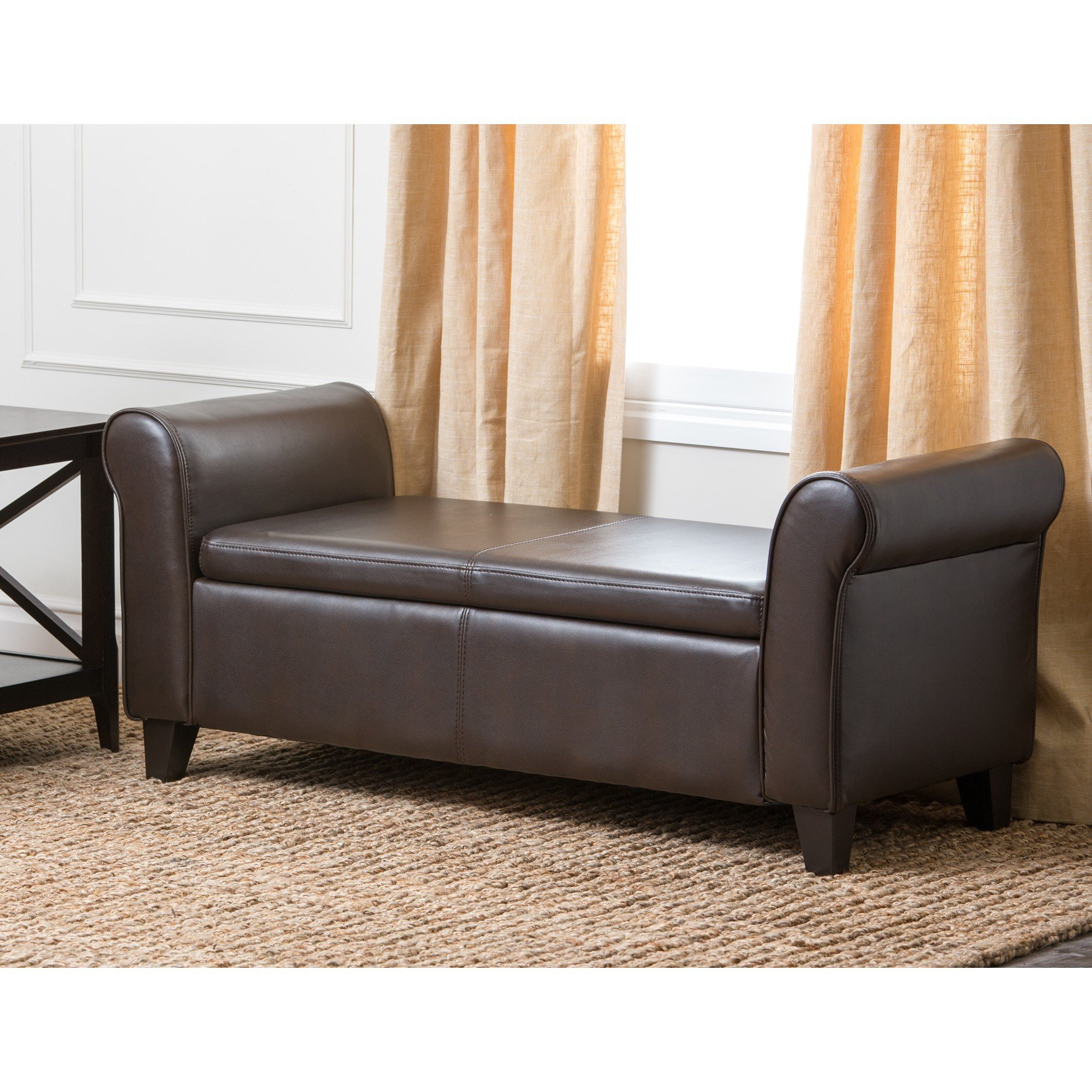 Best Abbyson Living Easton Leather Bedroom Storage Bench With Pictures