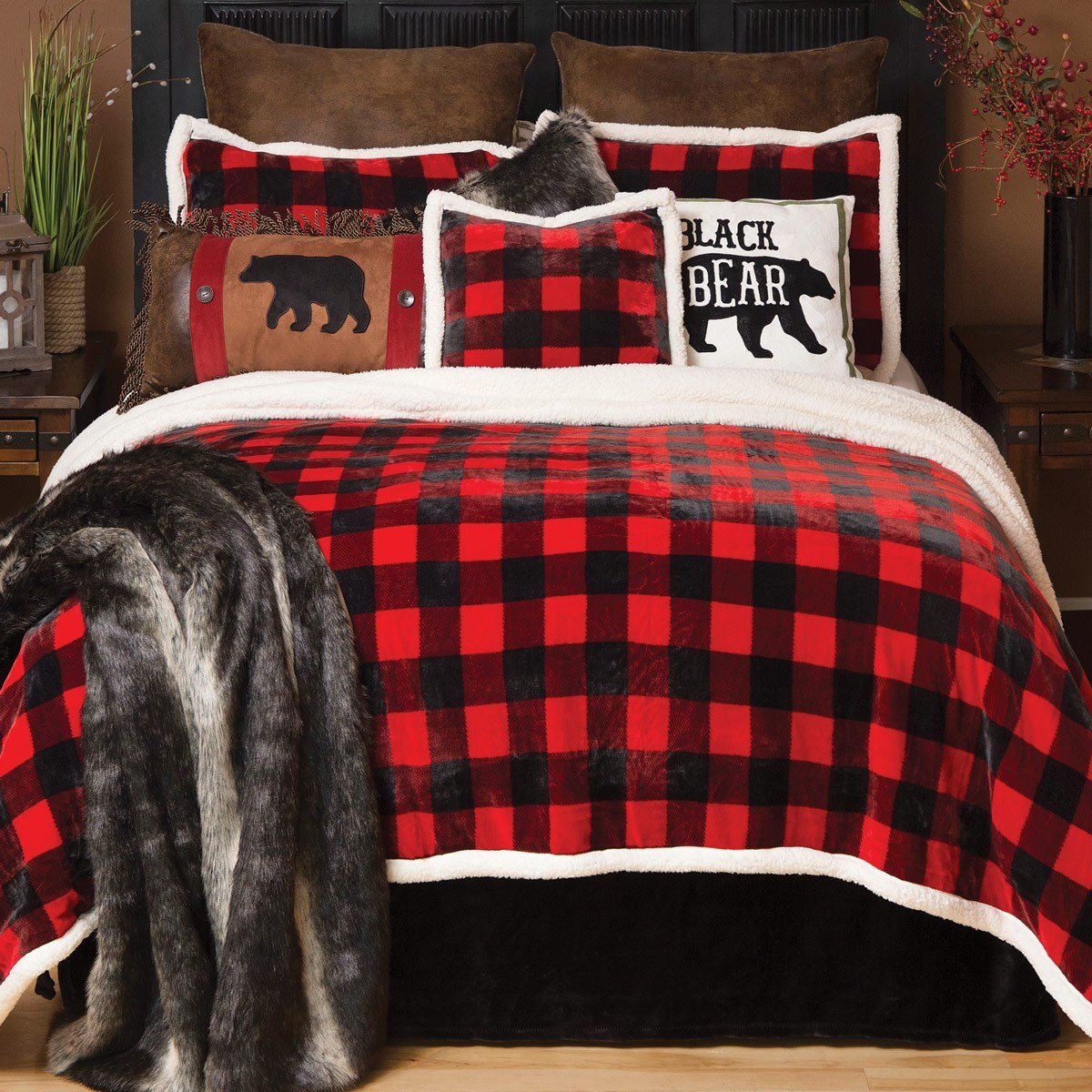 Best Buffalo Plaid Plush Bed Set King With Pictures