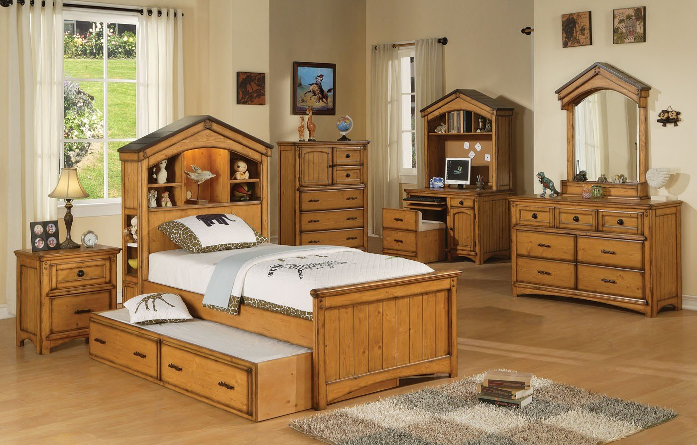 Best Rustic Oak Twin Size Bedroom Set With Pictures