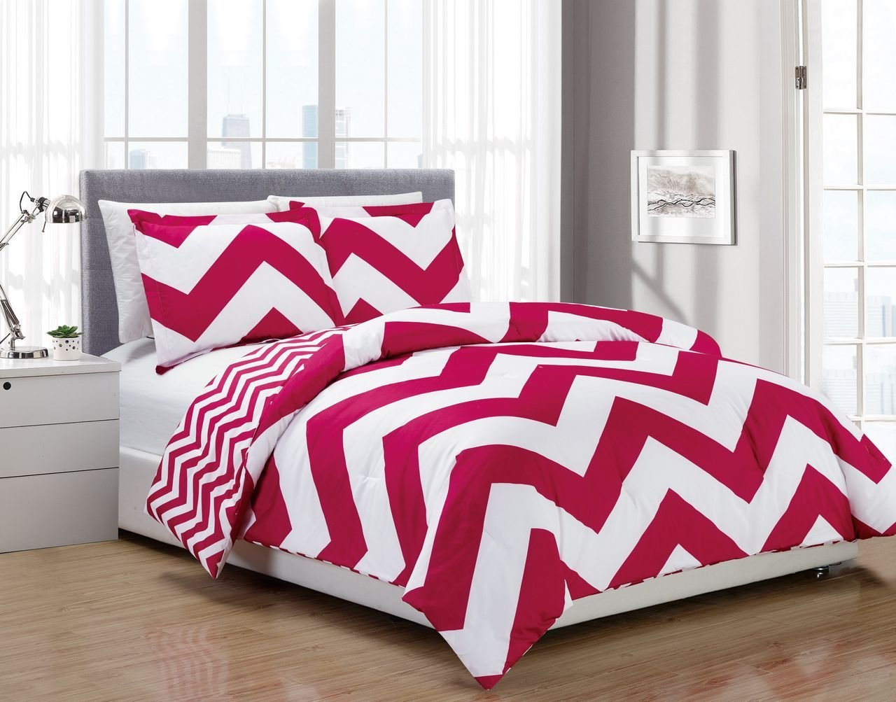 Best 3 Piece Chevron Pink White Reversible Down Alternative With Pictures