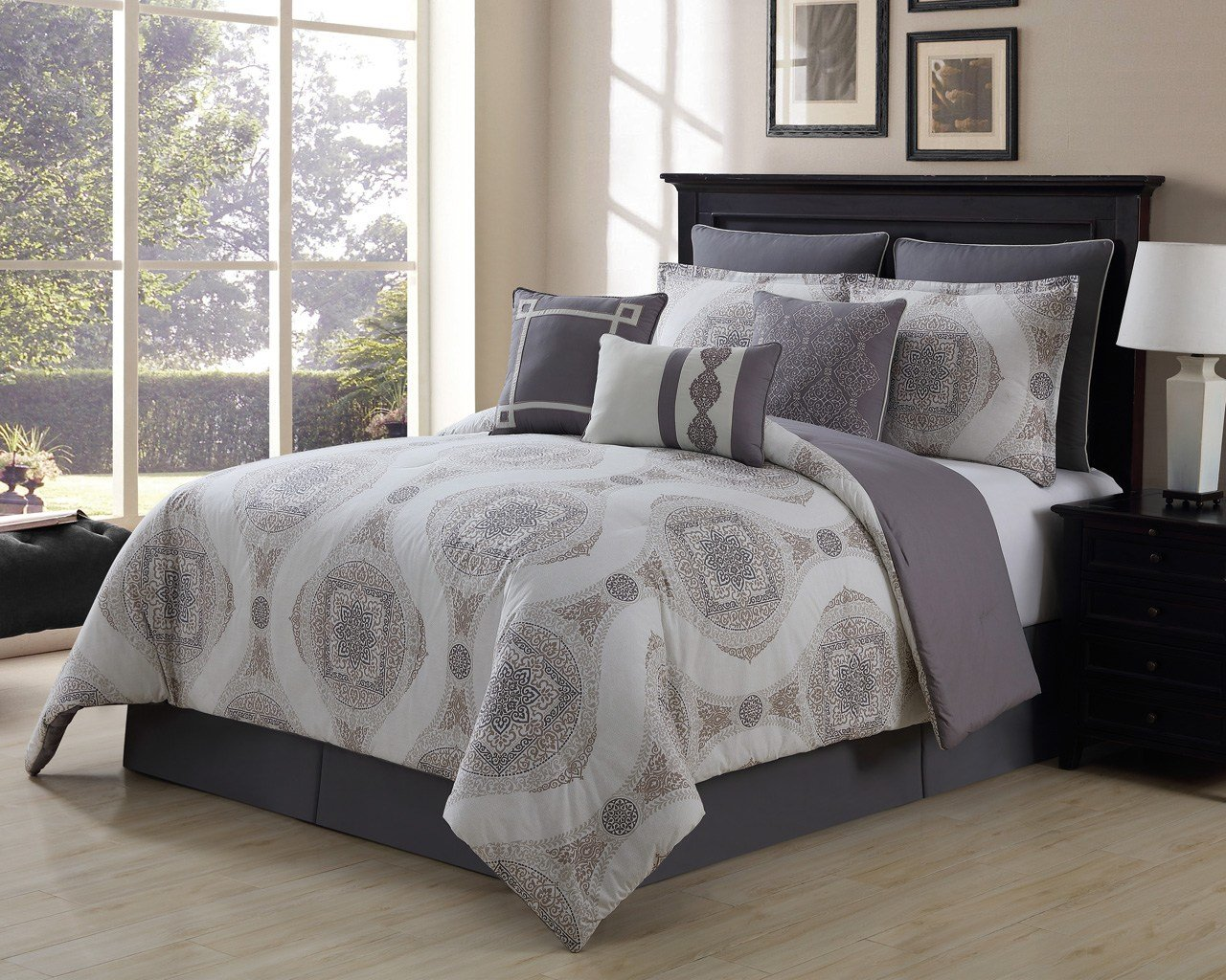 Best 9 Piece Sloan Taupe Gray 100 Cotton Comforter Set With Pictures