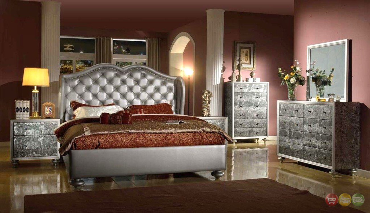 Best Glamorous Silver Button Tufted Wing Back Bed Faux Croc With Pictures