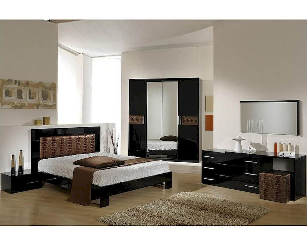 Best Modern Bedroom Set In Black Brown Finish Made In Italy 44B5111Bb With Pictures