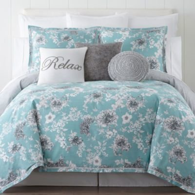 Best Jcpenney Home Pencil Floral 4 Pc Comforter Set Color With Pictures