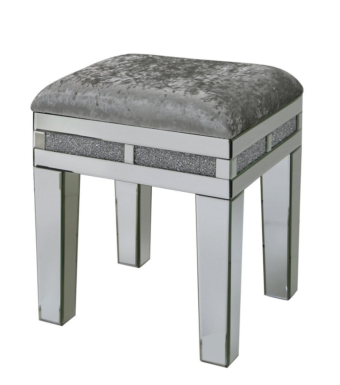 Best Crushed Diamond And Mirrored Bedroom Stool Modernfl With Pictures
