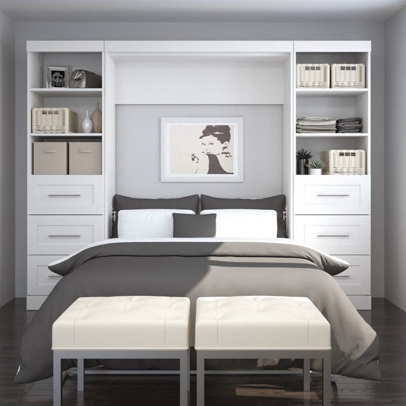 Best Bestar Pur 109 Full Wall Bed With 2 Piece 6 Drawer With Pictures