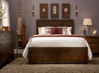 Best Shelton 4 Pc King Bedroom Set W Storage Rustic Pine Raymour Flanigan With Pictures