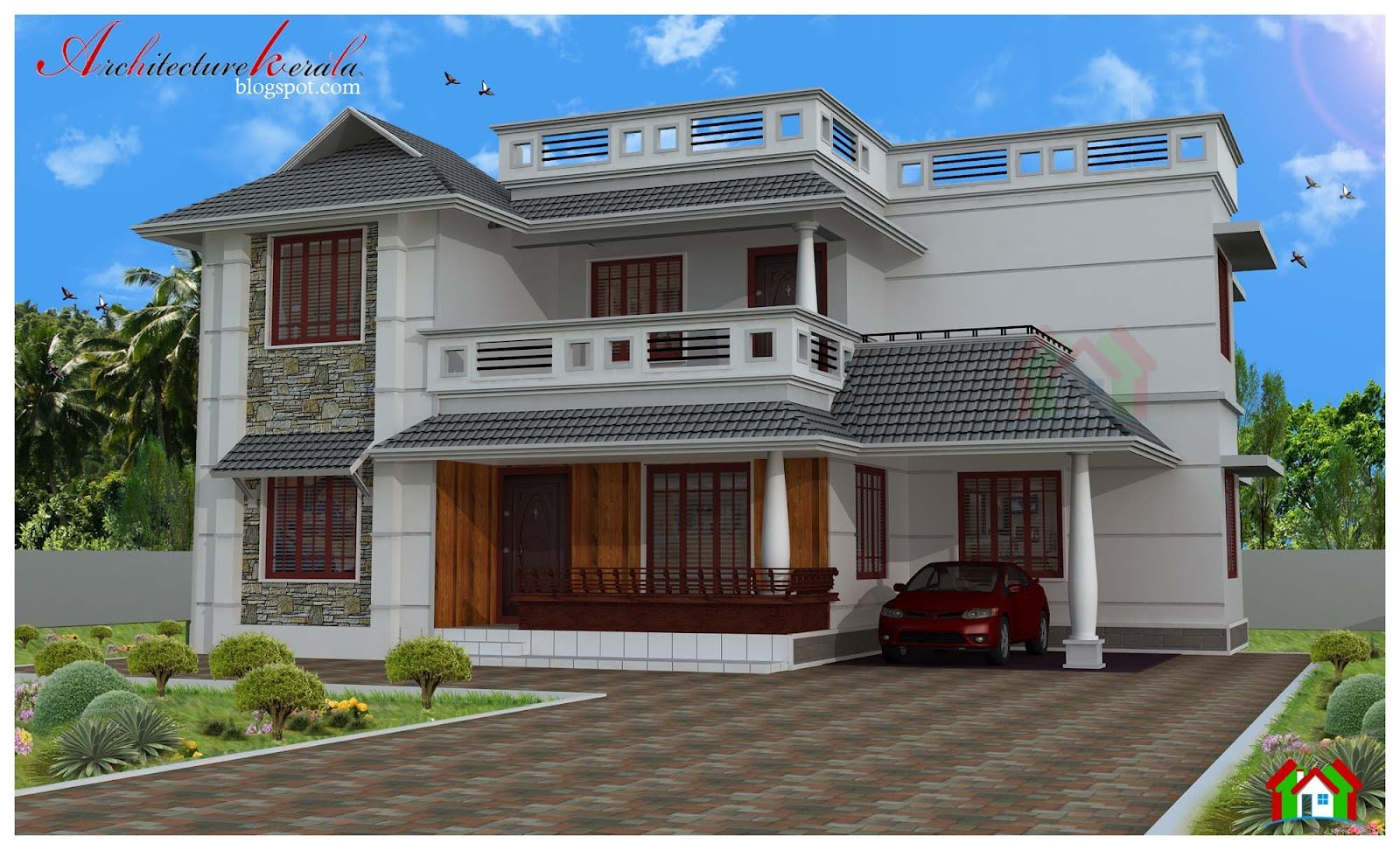 Best Architecture Kerala Four Bed Room House Plan With Pictures