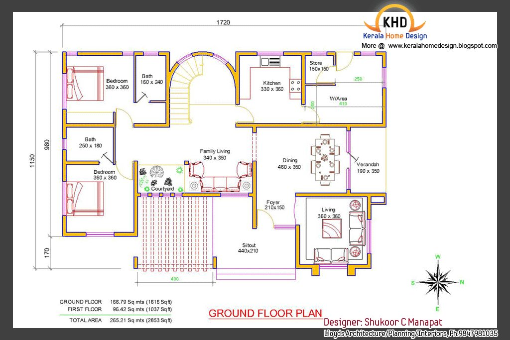 Best Beautiful 2853 Sq Ft 4 Bedroom Villa Elevation And Plan With Pictures