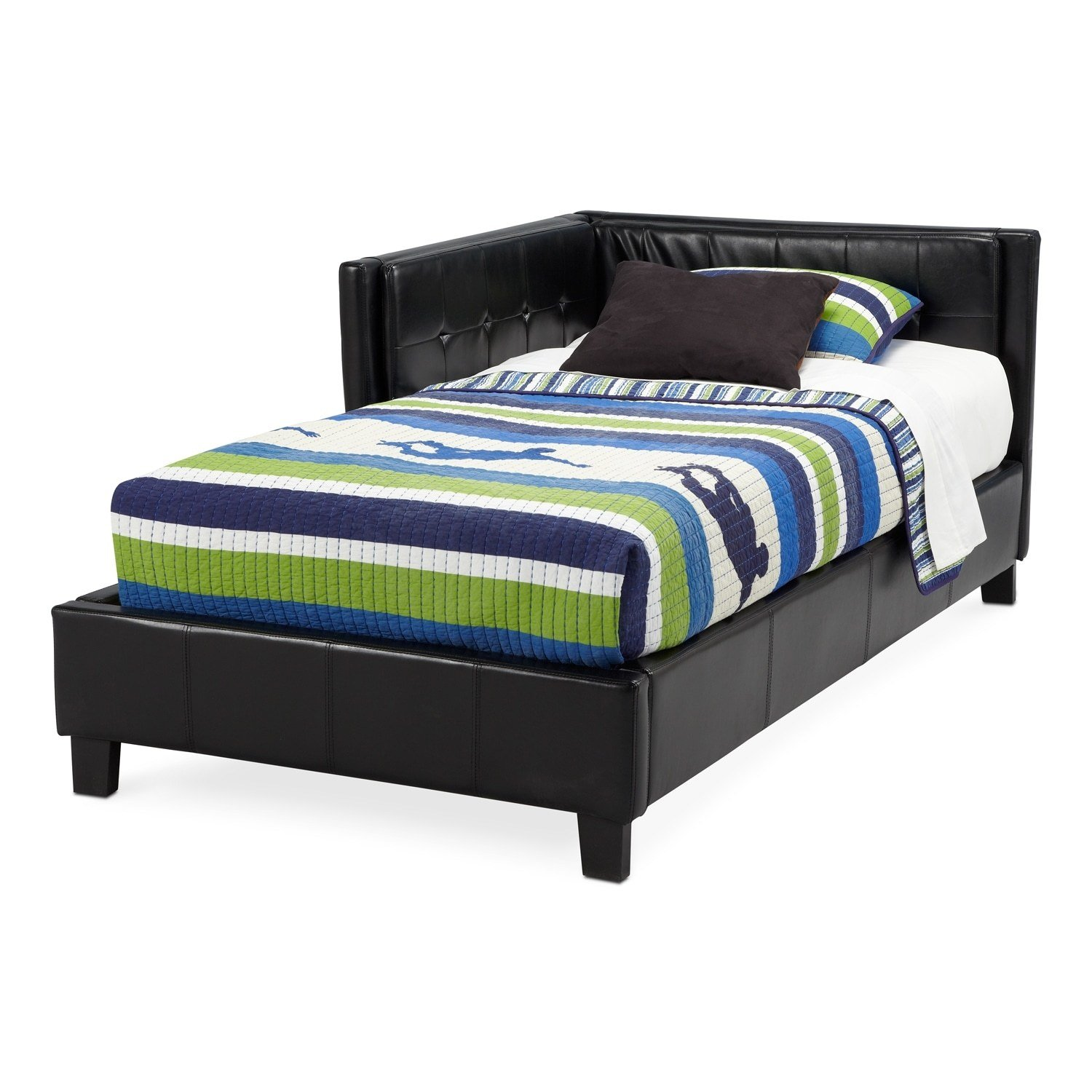 Best Jordan Twin Corner Bed Black Value City Furniture With Pictures
