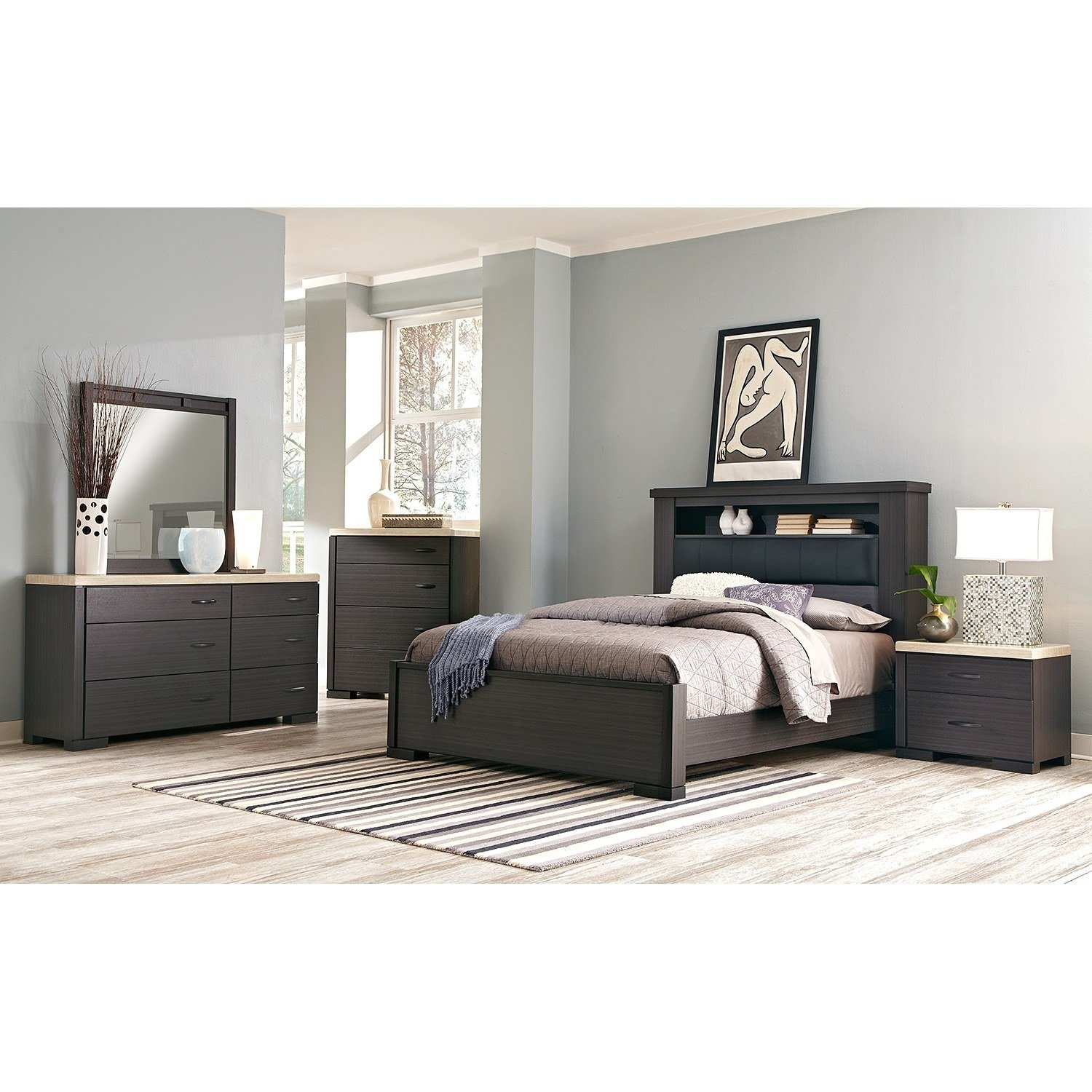 Best Camino 7 Piece Queen Bedroom Set Charcoal And Ivory With Pictures