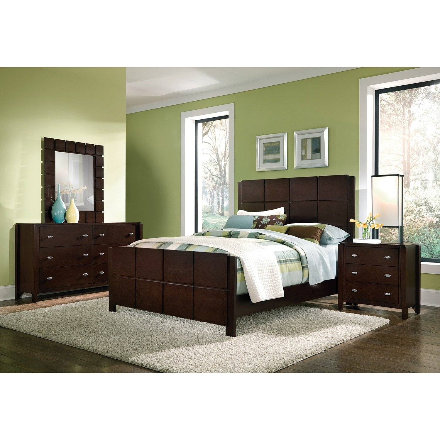Best Mosaic 6 Piece Queen Bedroom Set Dark Brown Value City With Pictures
