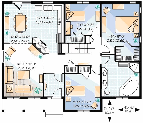 Best Three Bedroom Plan With Options 21155Dr 1St Floor Master Suite Cad Available Canadian With Pictures