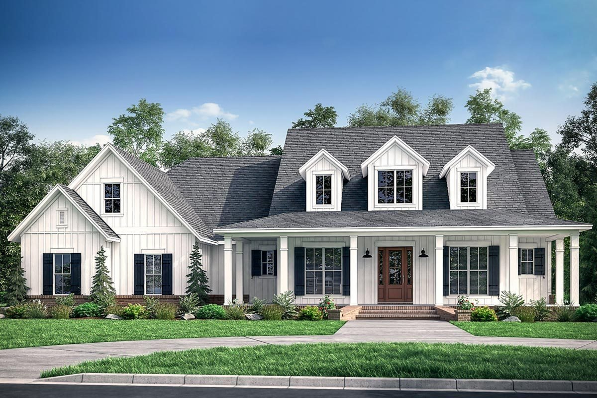 Best Fresh 4 Bedroom Farmhouse Plan With Bonus Room Above 3 Car Garage 51784Hz Architectural With Pictures