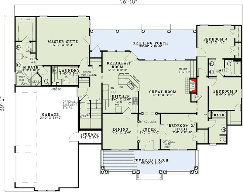 Best Spectacular Split Bedroom House Plan 59377Nd With Pictures