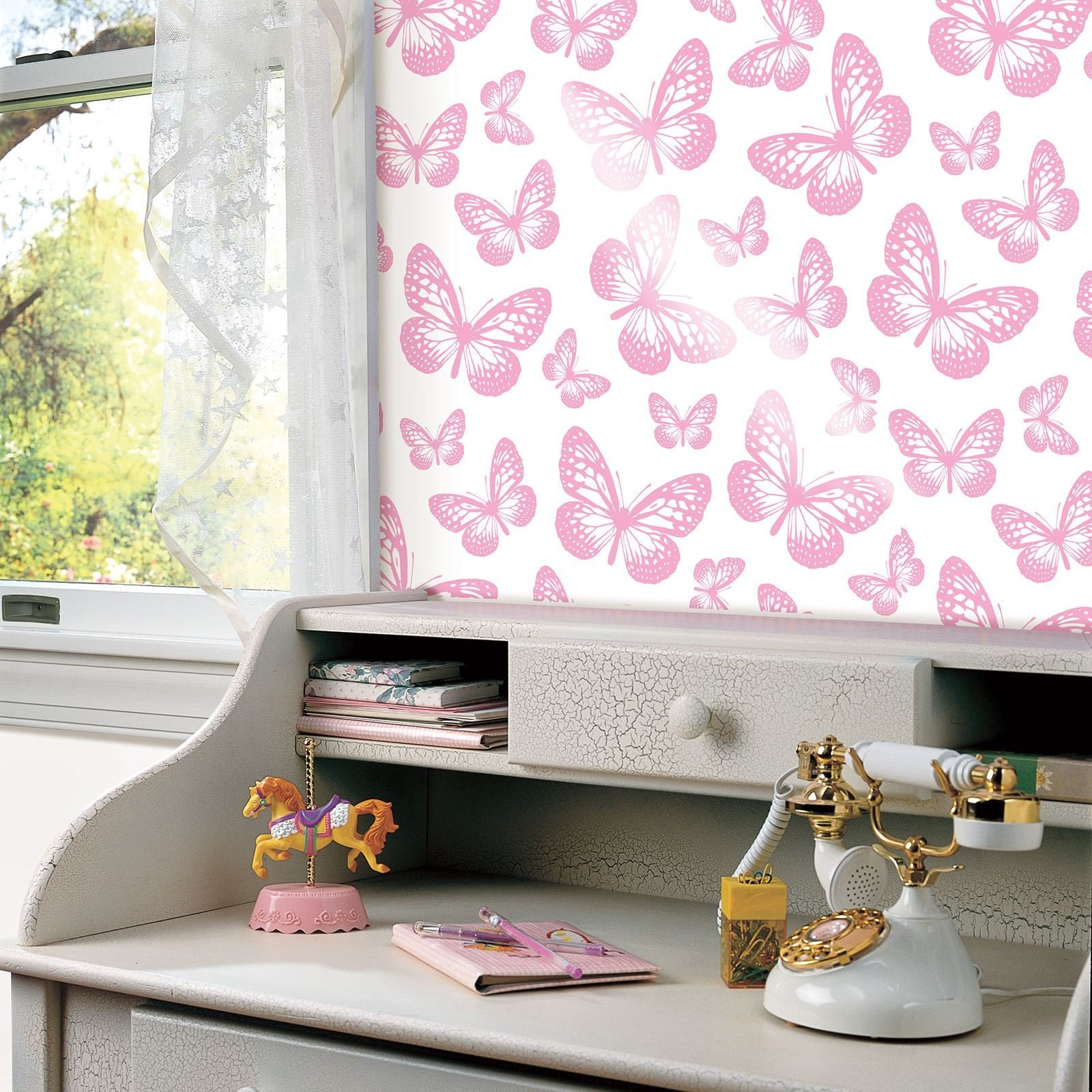 Best Butterfly Wallpaper Girls Bedroom Decor Pink White Teal With Pictures