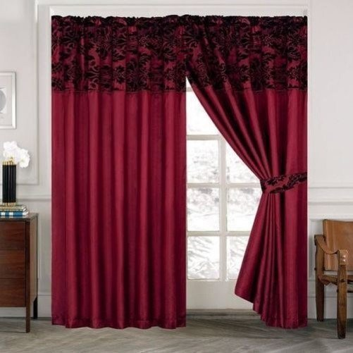 Best Gorgeous Damask Pencil Pleat Flock Curtain Window Curtains With Pictures