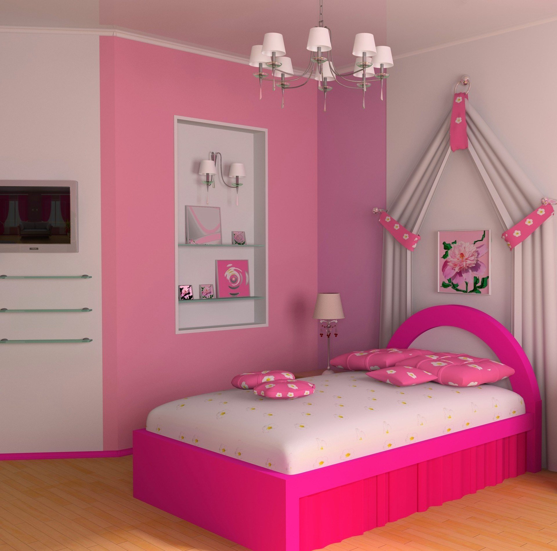 Best Simple Pikn Barbie Themed T**N Girl Bedroom Design With Pictures