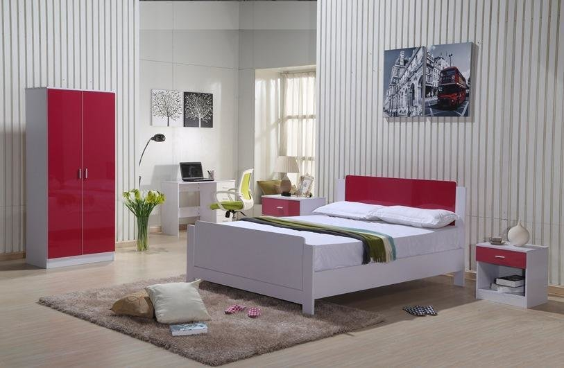 Best High Gloss Bedroom Furniture Set Red White Wardrobe Chest With Pictures