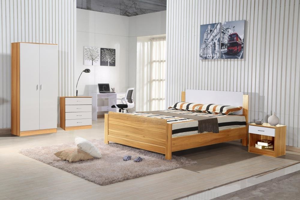 Best Oak White Gloss Bedroom Furniture 3 Piece Trio Set With Pictures
