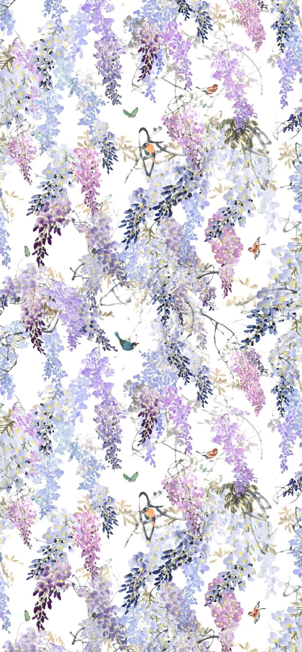 Best Wisteria Falls Panel A By Sanderson Lilac Wallpaper Direct With Pictures