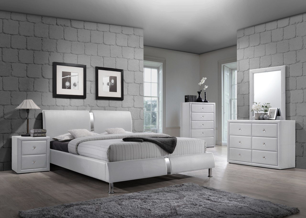 Best 4 Pc White Enzo Collection Queen Size Platform Bedroom Set With Pictures