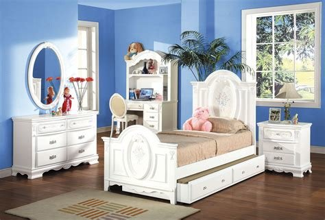 Best White Finish Twin Full Size Panel Bedroom Set 01677F With Pictures
