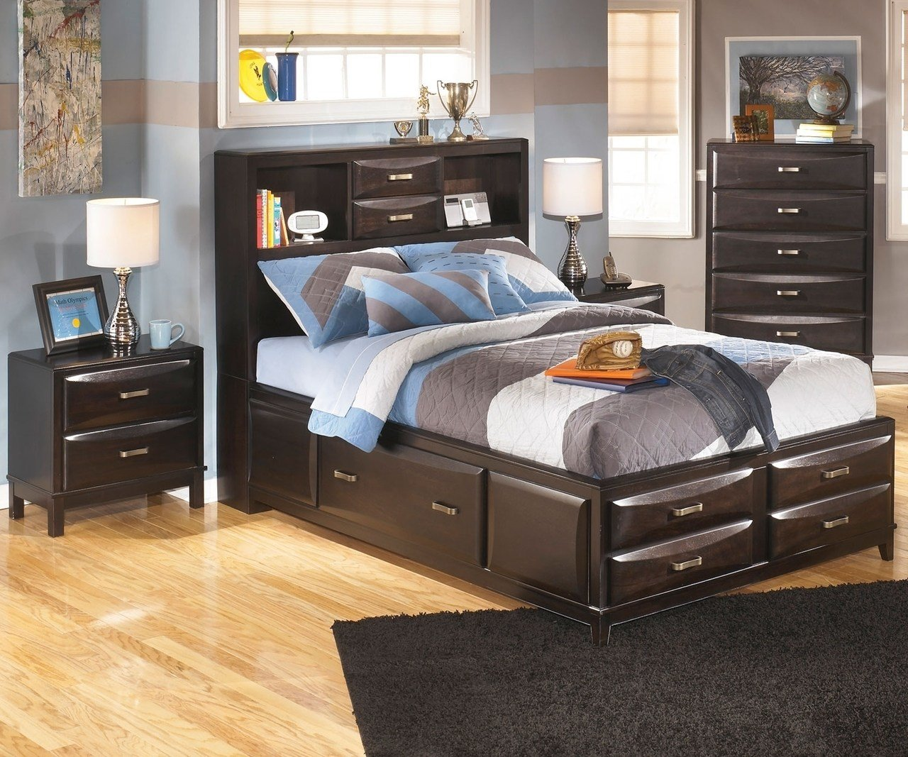 Best Kira B473 Full Size Bookcase Storage Bed Ashley Kids With Pictures
