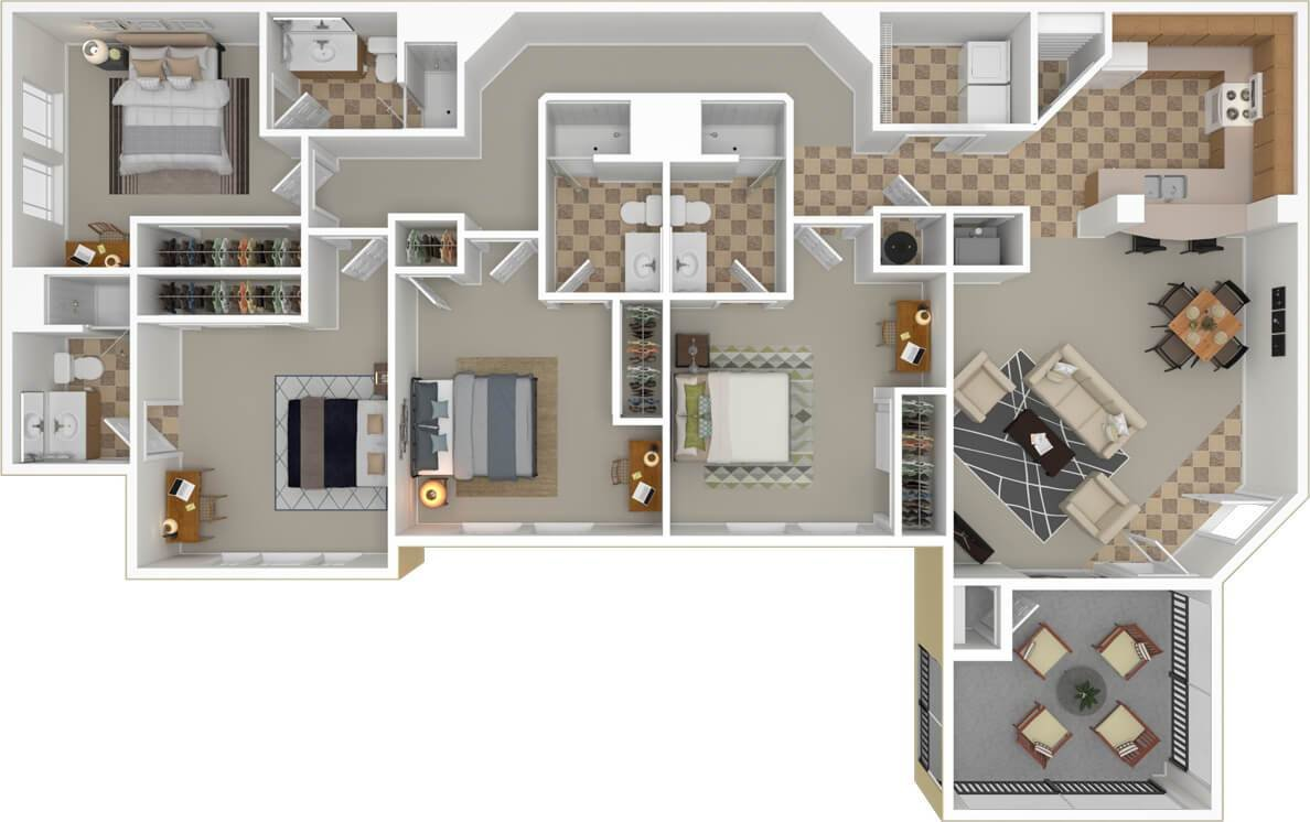 Best Floorplans Campus Lodge Tampa 2 3 4 Bedroom Apartments With Pictures