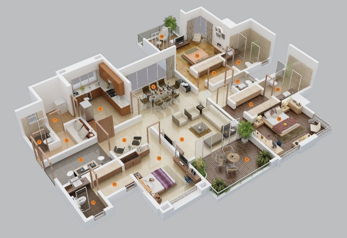"Best 50 Three ""3"" Bedroom Apartment House Plans Simplicity With Pictures"