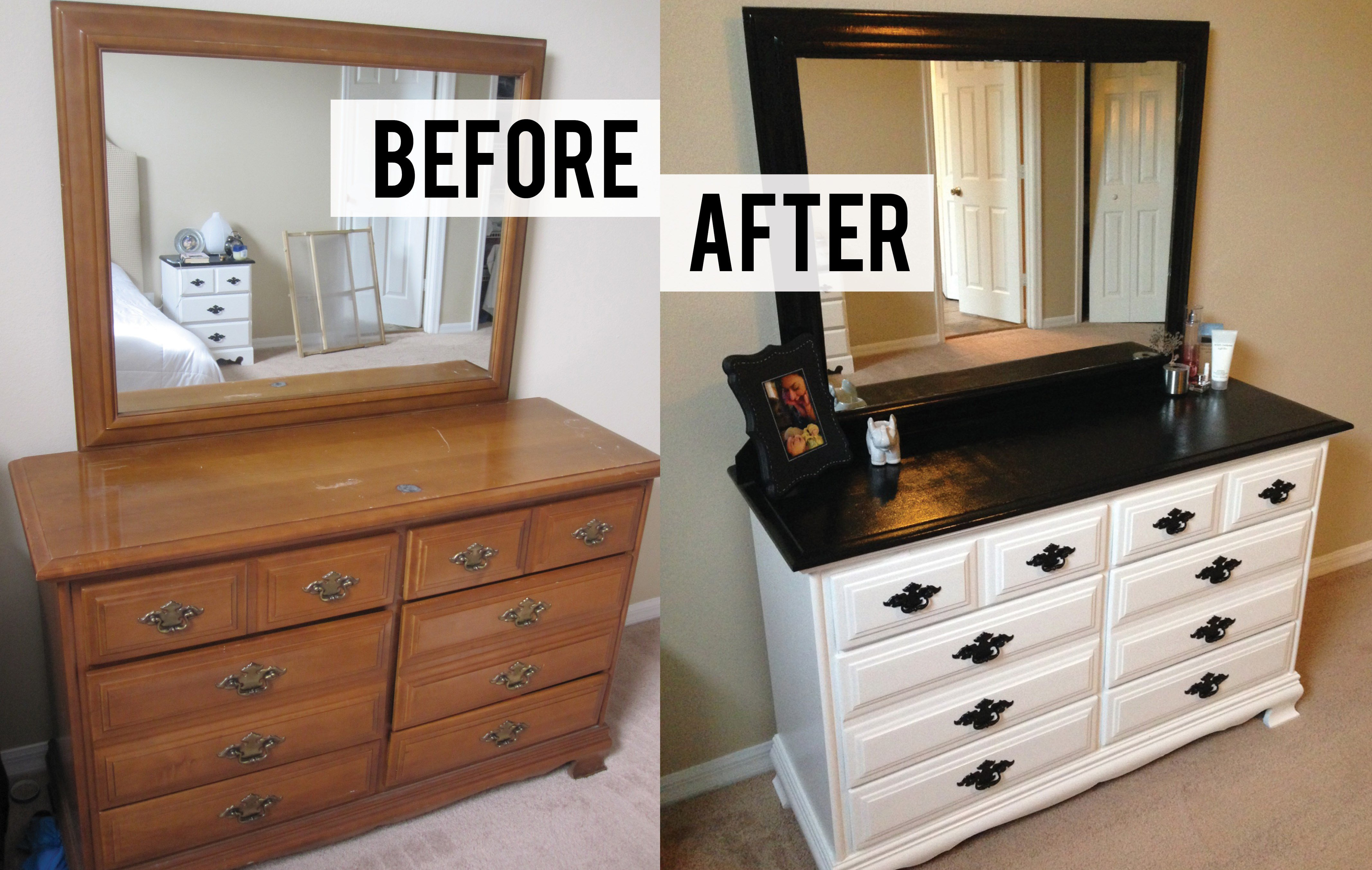 Best Diy Black And White Dresser Makeover Thriftingpretty With Pictures