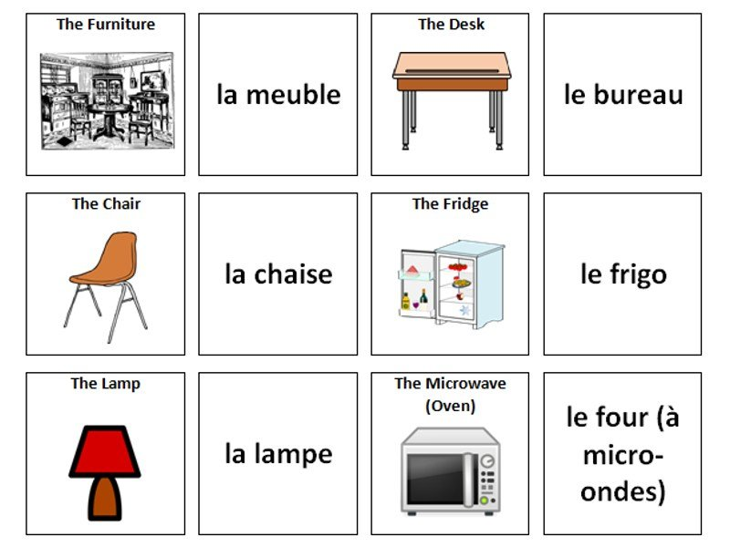 Best Furniture French Vocabulary Card Sort By Ineedtoteachthat With Pictures
