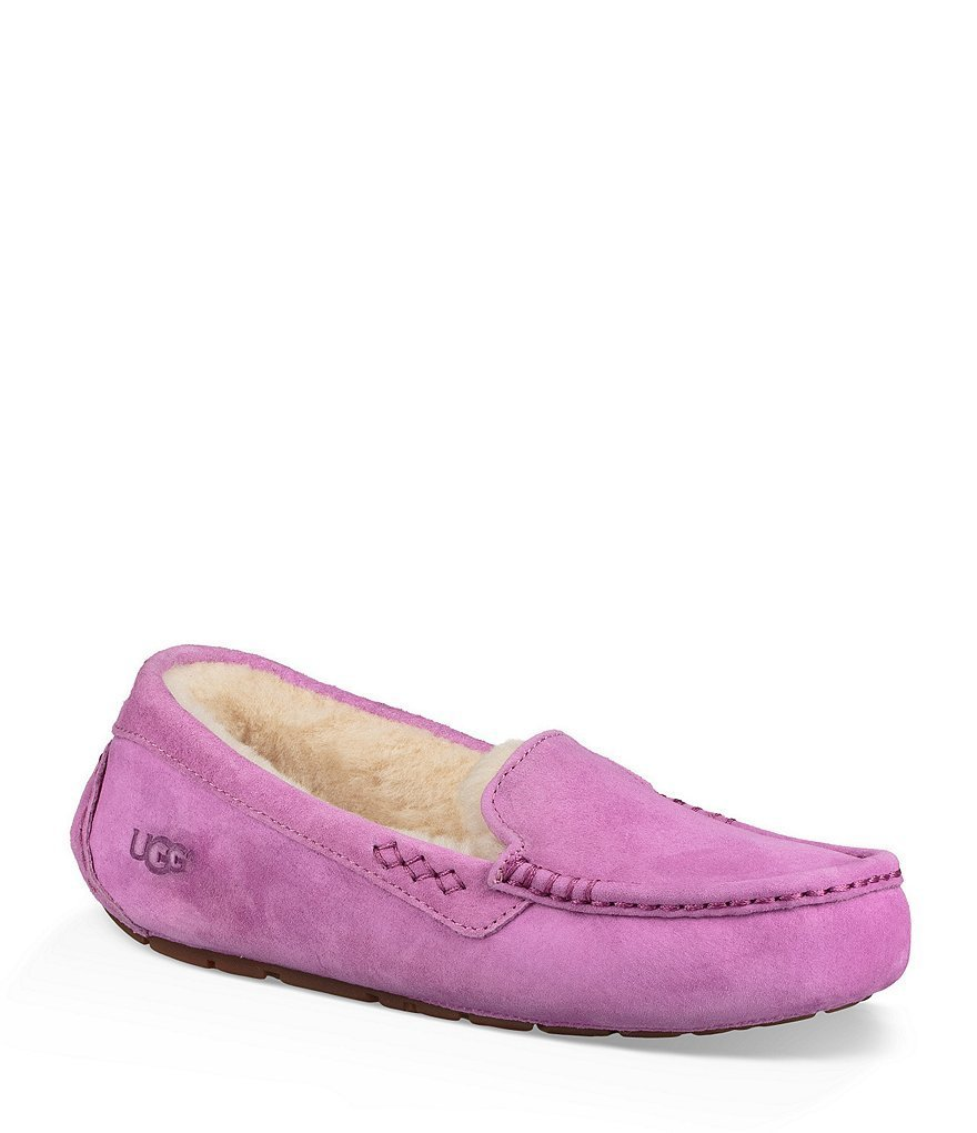 Best Ugg® Ansley Water Resistant Suede Stitch Detailed Moccasin Slippers Dillard S With Pictures