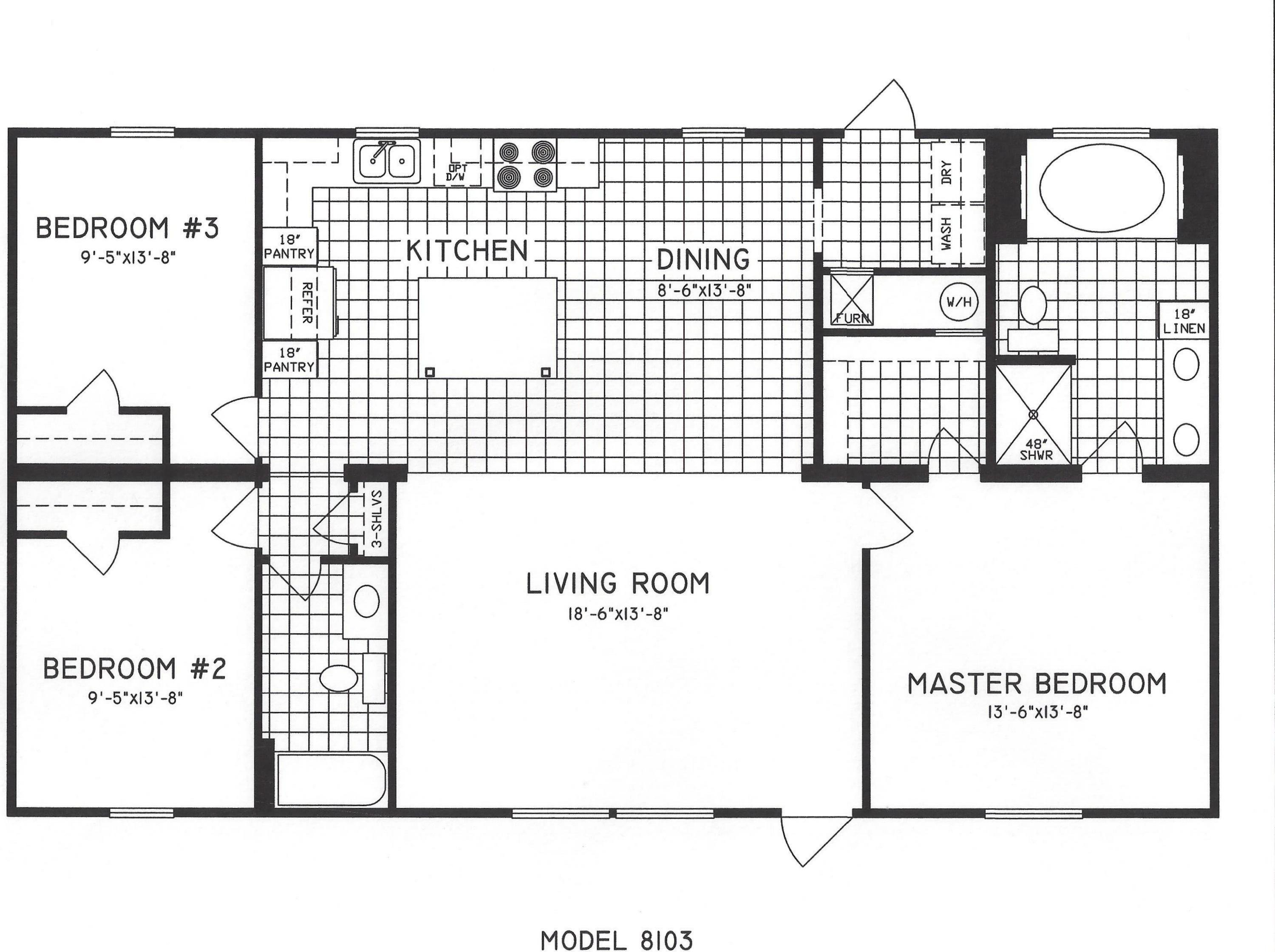 Best 3 Bedroom Floor Plan C 8103 Hawks Homes Manufactured With Pictures