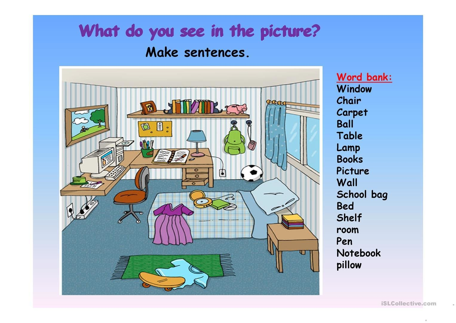 Best Picture Description Of A Bedroom Worksheet Free Esl With Pictures