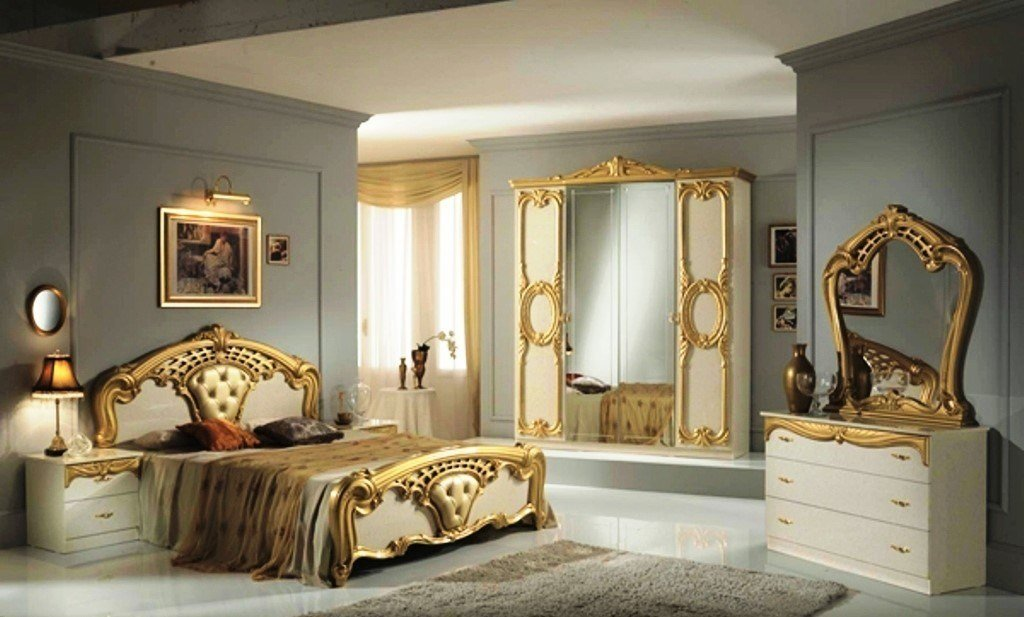 Best High Gloss Beige Gold Italian Bedroom Furniture Homegenies With Pictures