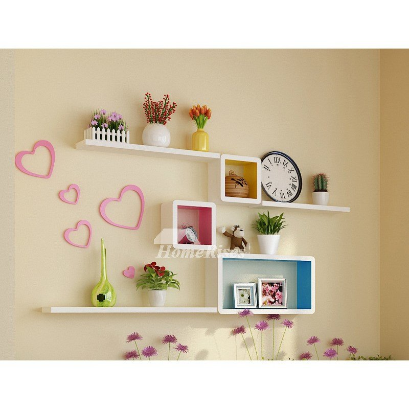 Best Bedroom Wall Shelves Decorative Wooden Square Unique With Pictures