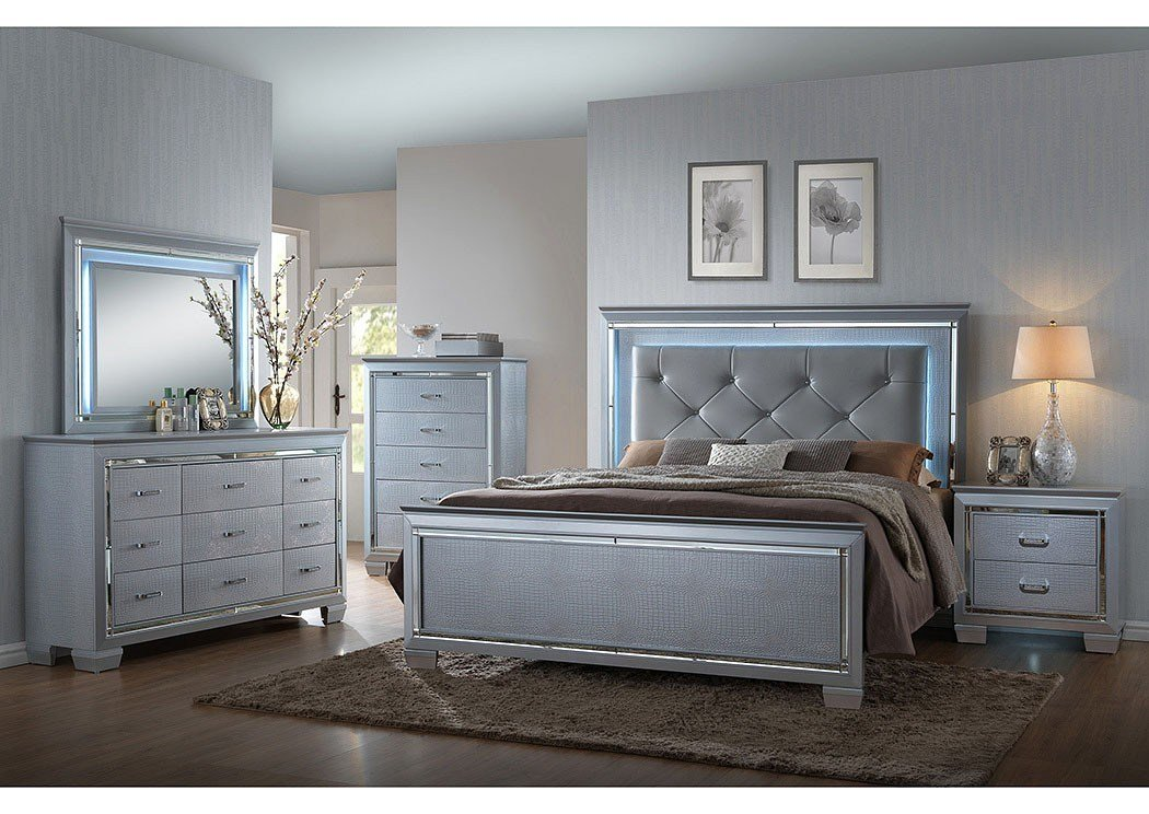 Best Lillian Silver B7100 4 Pc Queen Bedroom Set With Pictures