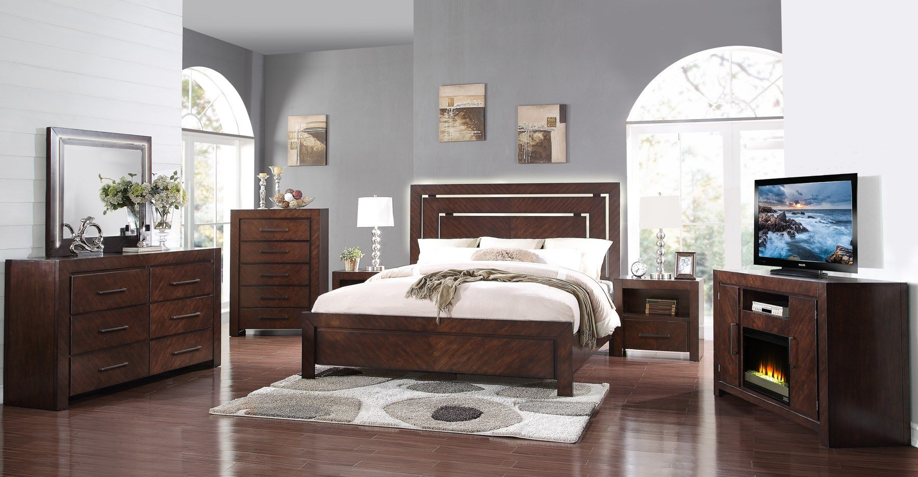 Best City Lights Walnut Zctl 4 Pc King Bedroom Set With Pictures