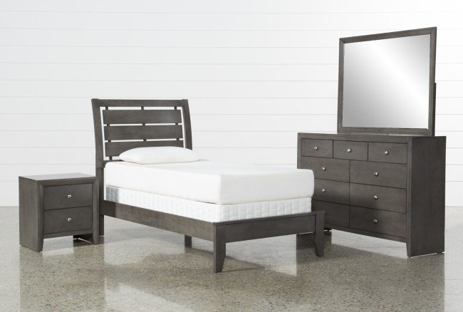 Best Chad Grey Twin 4 Piece Bedroom Set Living Spaces With Pictures
