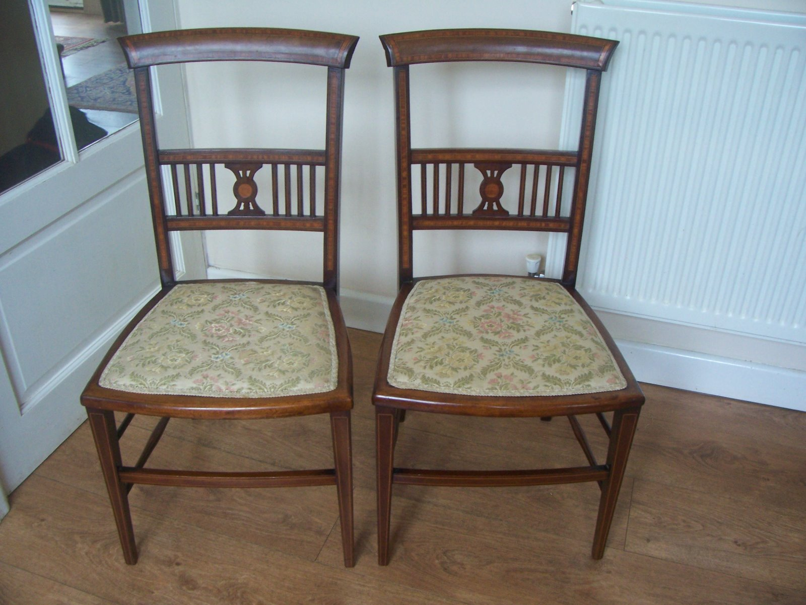 Best Pretty Pair Of Inlaid Mahogany Bedroom Chairs La63057 With Pictures