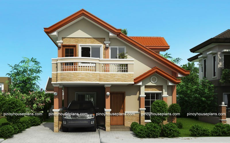 Best Php 2015021 Two Storey House Plan With Balcony Pinoy With Pictures
