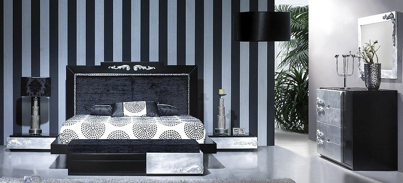 Best Luxus Carved Black And Silver Leaf Bedroom Set Collection With Pictures