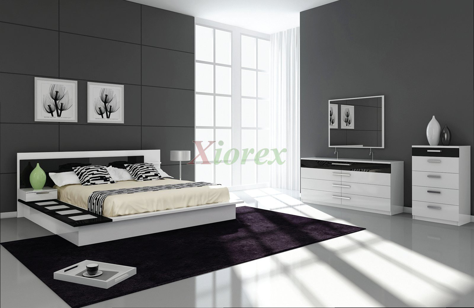 Best Draco Black And White Contemporary Bedroom Furniture Sets With Pictures