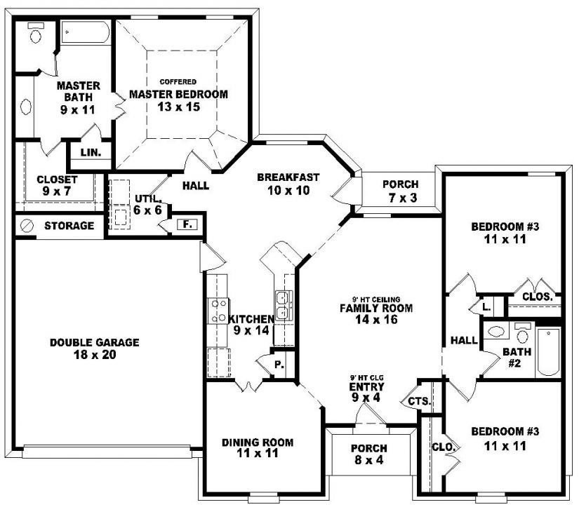 Best Elegant House Plans With 3 Bedrooms 2 Baths New Home With Pictures