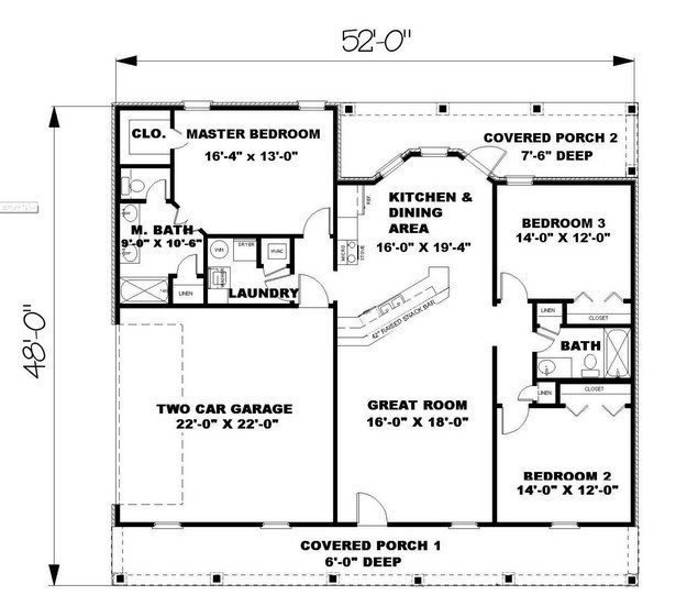 Best 1500 Sq Ft Ranch House Plans Lovely Ranch Plan 1 500 With Pictures