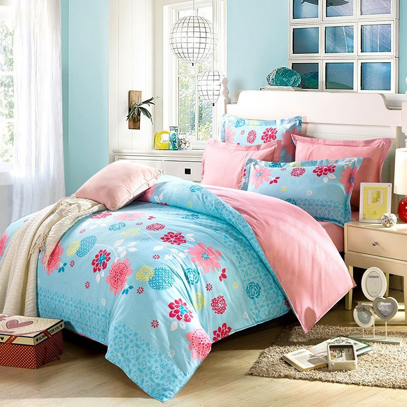 Best Soothing Light Teal And Pink Cotton Bedding Set Ebeddingsets With Pictures