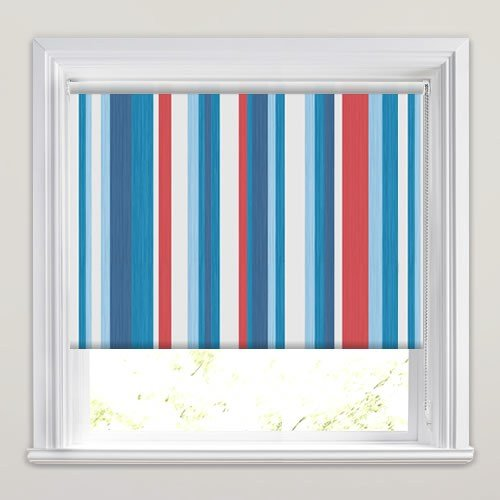 Best Kids Striped Blackout Bedroom Roller Blinds In Red White With Pictures