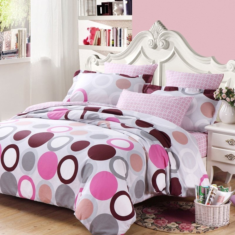 Best White Gray Purple And Hot Pink Circle And Polka Dot Print With Pictures
