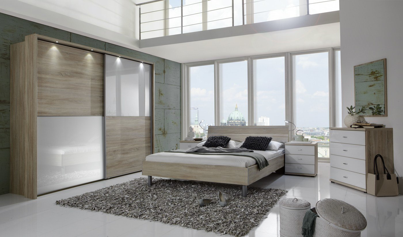 Best Wiemann Berlin Bedroom Set In Oak With Alpine White Glass With Pictures